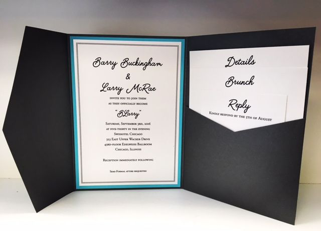5x7 Pocket Folder 2 Layer Card Adhered Inside With 3 Stacked Insert Pieces Printed In Black Thermography