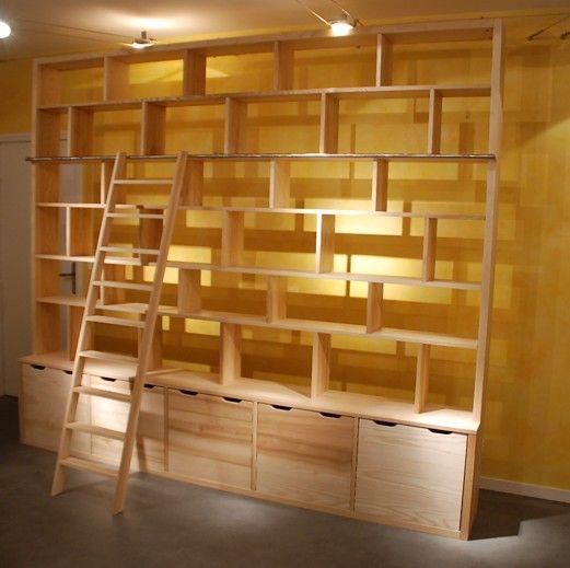 mur bibliotheque contemporaine