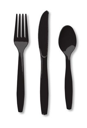 Plastic Black  Extra Heavy Plastic Cutlery Combo- 960 Pieces #weddings #table #party #supplies #food #drink #event #holiday #fancy #elegant #black #dinnerware #plates #meal