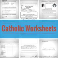A collection of Catholic worksheets from The Religion