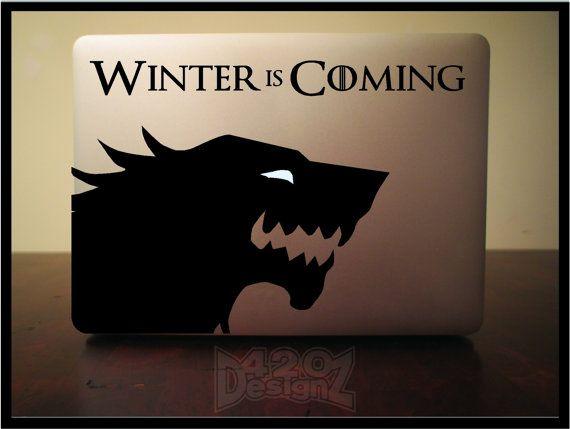 Winter is coming wolf- Macbook Air, Macbook Pro,  Macbook decals, Sticker Vinyl Mac decals Apple Mac Decal, Laptop, iPad