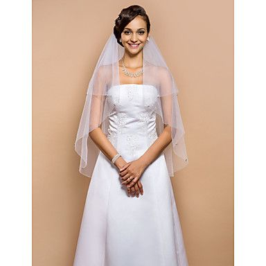 Delicate Two-tier Fingertip Wedding Veil With Beaded Edge – USD $ 19.99