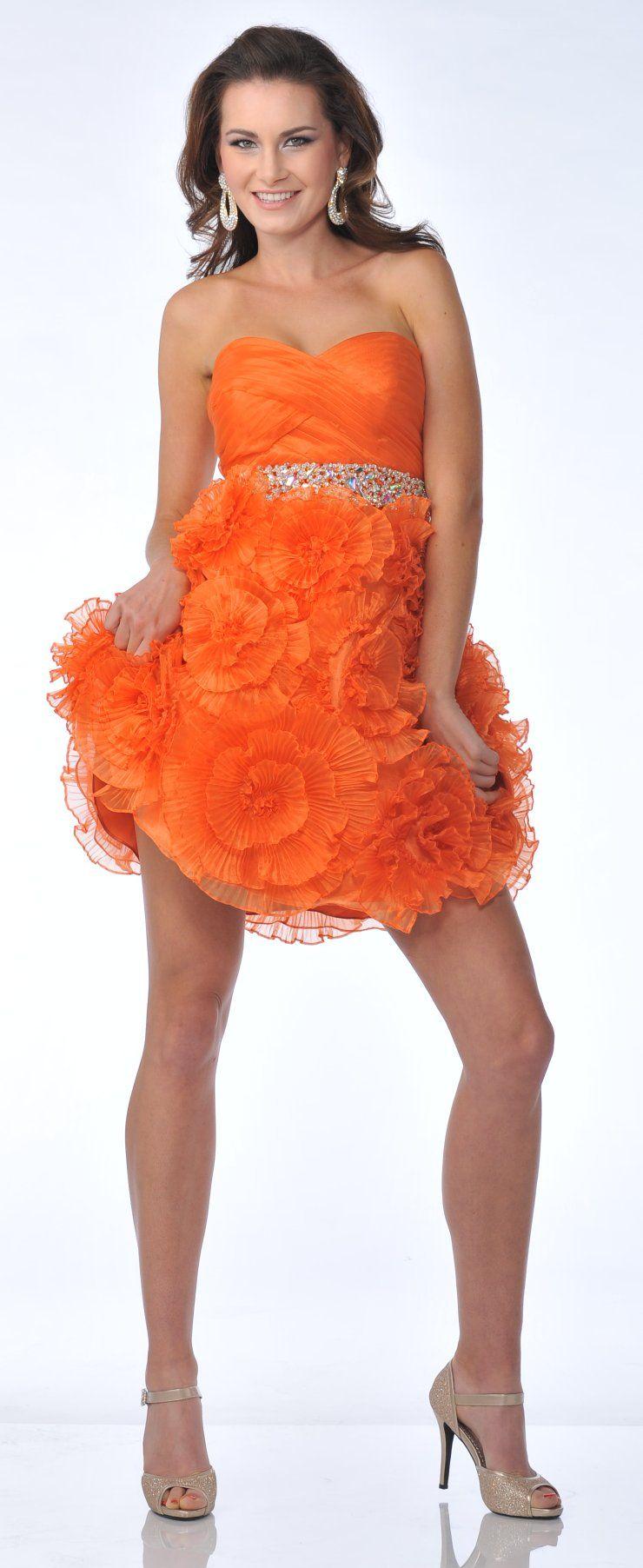 Strapless Rhinestone Waist Short Orange Prom Dress Flower Rosette ...
