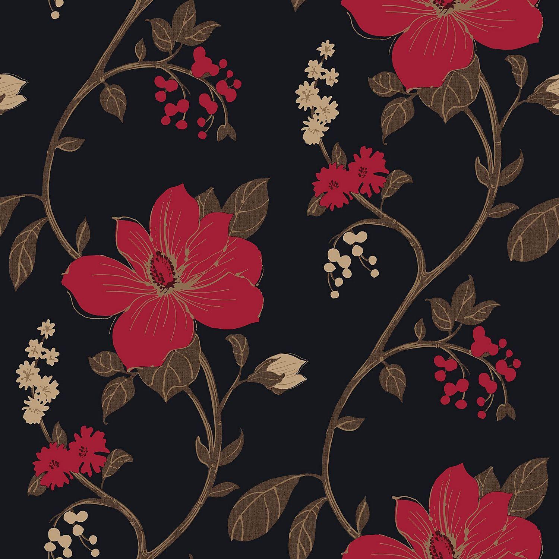 Arthouse Opera Tatami Black Red Floral Mica Wallpaper Red Flower Wallpaper Black Floral Wallpaper Floral Wallpaper