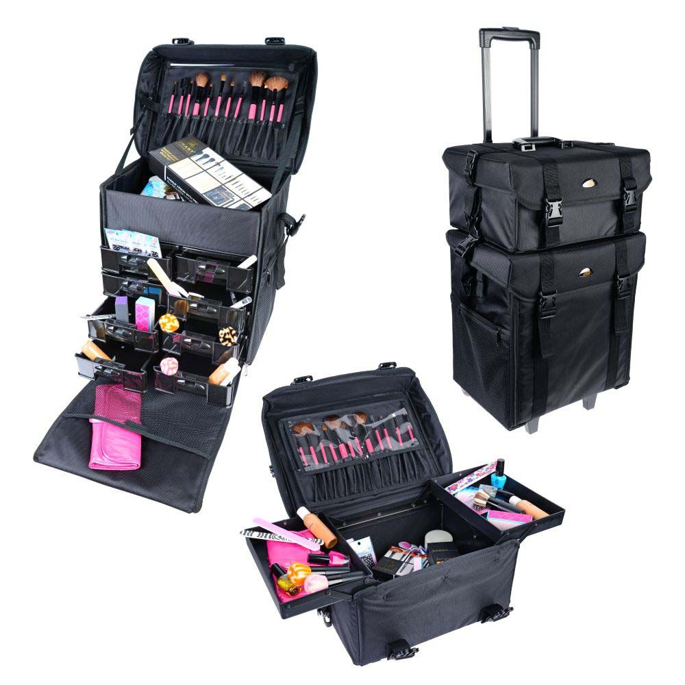 Soft Makeup Artist Rolling Trolley Cosmetic Case with Free