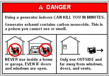 graphic highlighting potential dangers using portable generators
