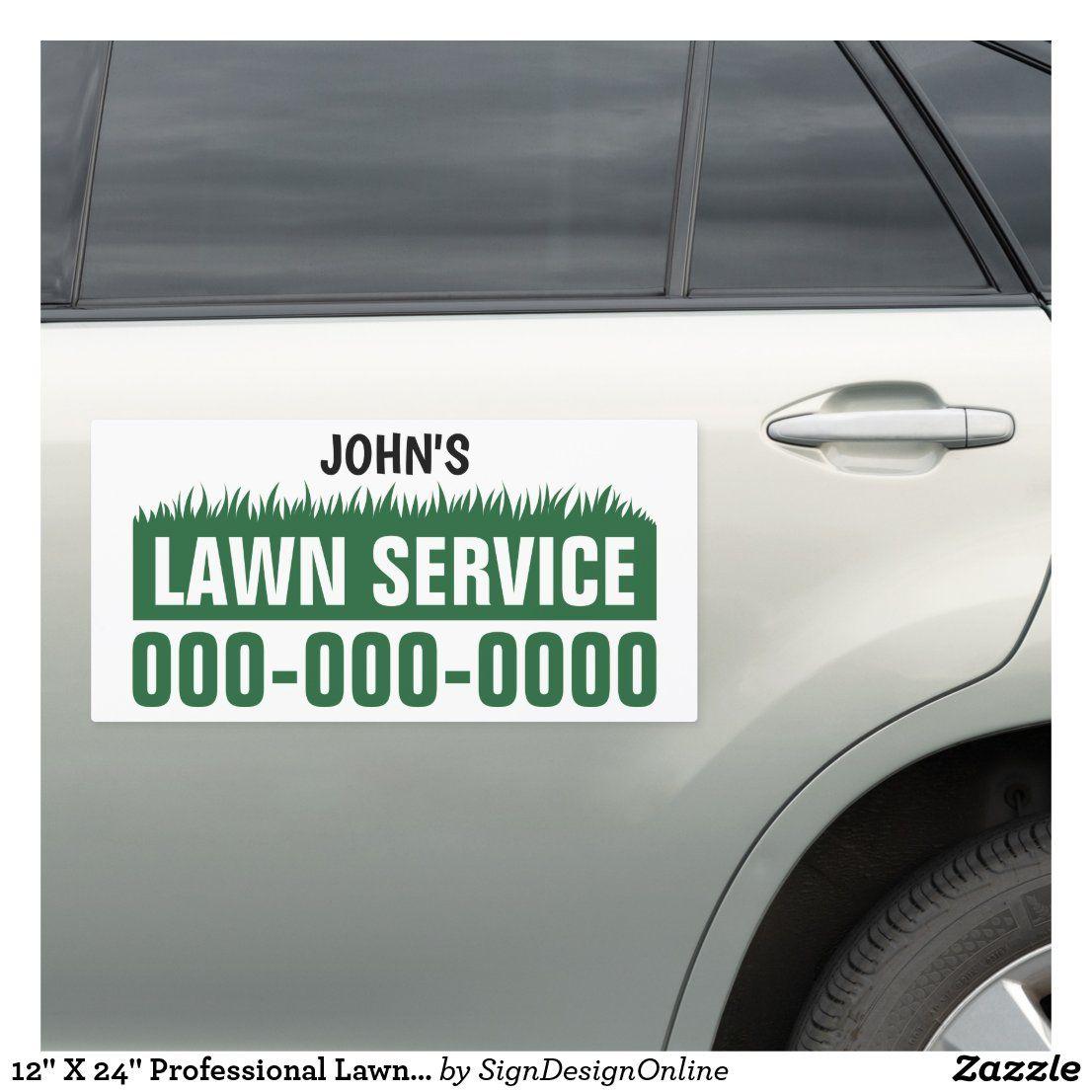 12 X 24 Professional Lawn Service Car Magnet Zazzle Com Lawn Service Lawn Care Business Cards Lawn Care Business [ 1106 x 1106 Pixel ]