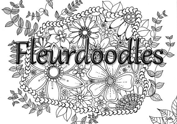 flower garden with heart - coloring page for grown ups ...