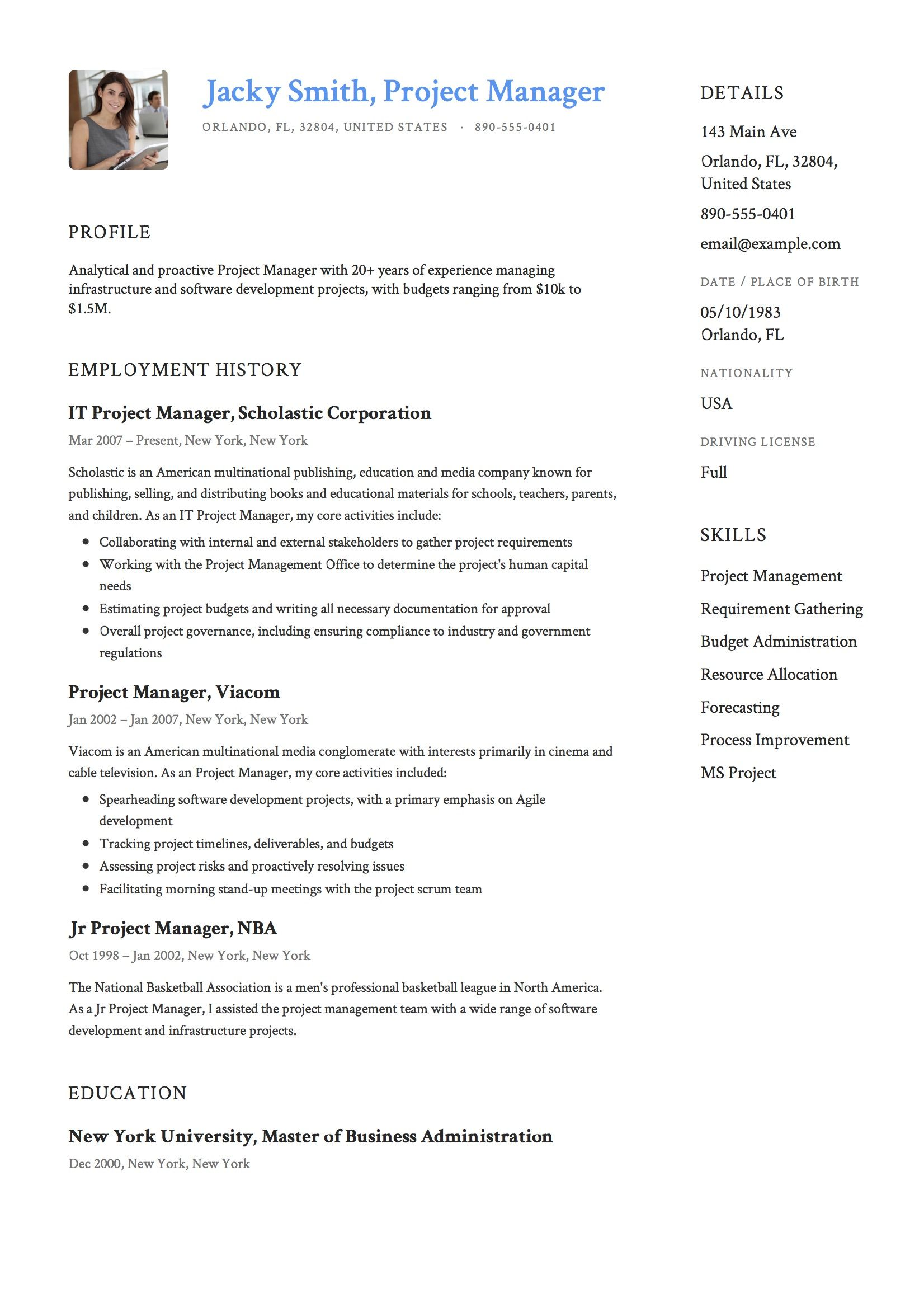 Project Manager Resume Example Project Manager Resume Manager Resume Project Management