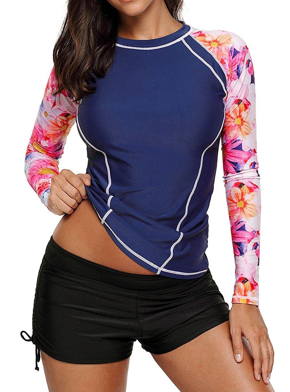141d7663e5752 Womens Long Sleeve Rashguard Swimwear Athletic Rash Guard Shirts ...