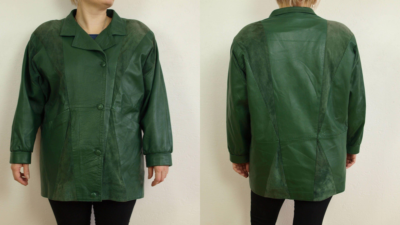 3dca2fb86 Vintage Yves Saint Laurent leather jacket Size XXL Oversize, Green ...