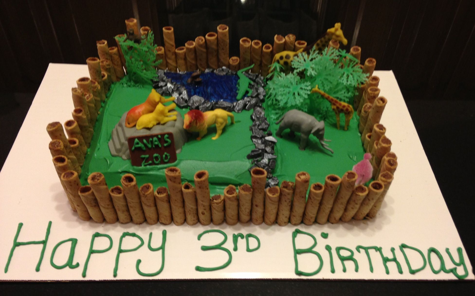 Stupendous Avas 3Rd Birthday She Loved Her Zoo Cake With Images Zoo Funny Birthday Cards Online Amentibdeldamsfinfo