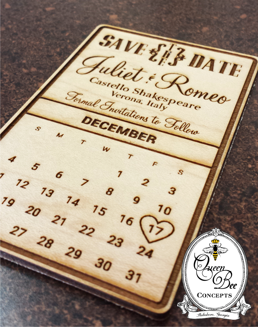 Save the Date Wooden Magnet - Calendar Design - Laser Engraved ...