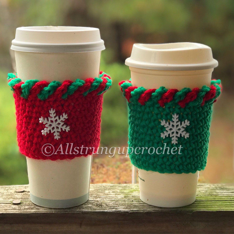 Crochet Coffee Sleeve Santa Cup Cozy Cup Sleeve Reusable Etsy Crochet Beer Cozy Crochet Coffee Cozy Crochet Cup Cozy