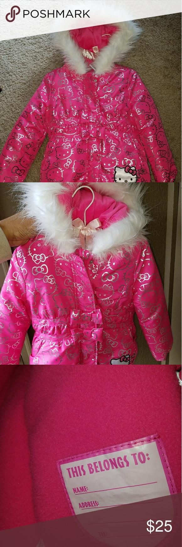 41ec305b1 Hello Kitty Girls puffer jacket size 5/6 Super cute little girls' Hello  Kitty puffer jacket w/ faux fur hood. Fleece lined, 100% polyester. Girls  size 5/6.