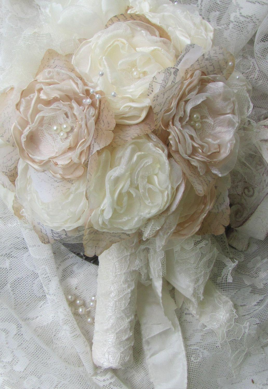 Bridal bouquet rustic chic ivory bridal bouquet alternative fabric bridal bouquet rustic chic ivory bridal bouquet alternative fabric flower bouquet vintage wedding bouquet izmirmasajfo