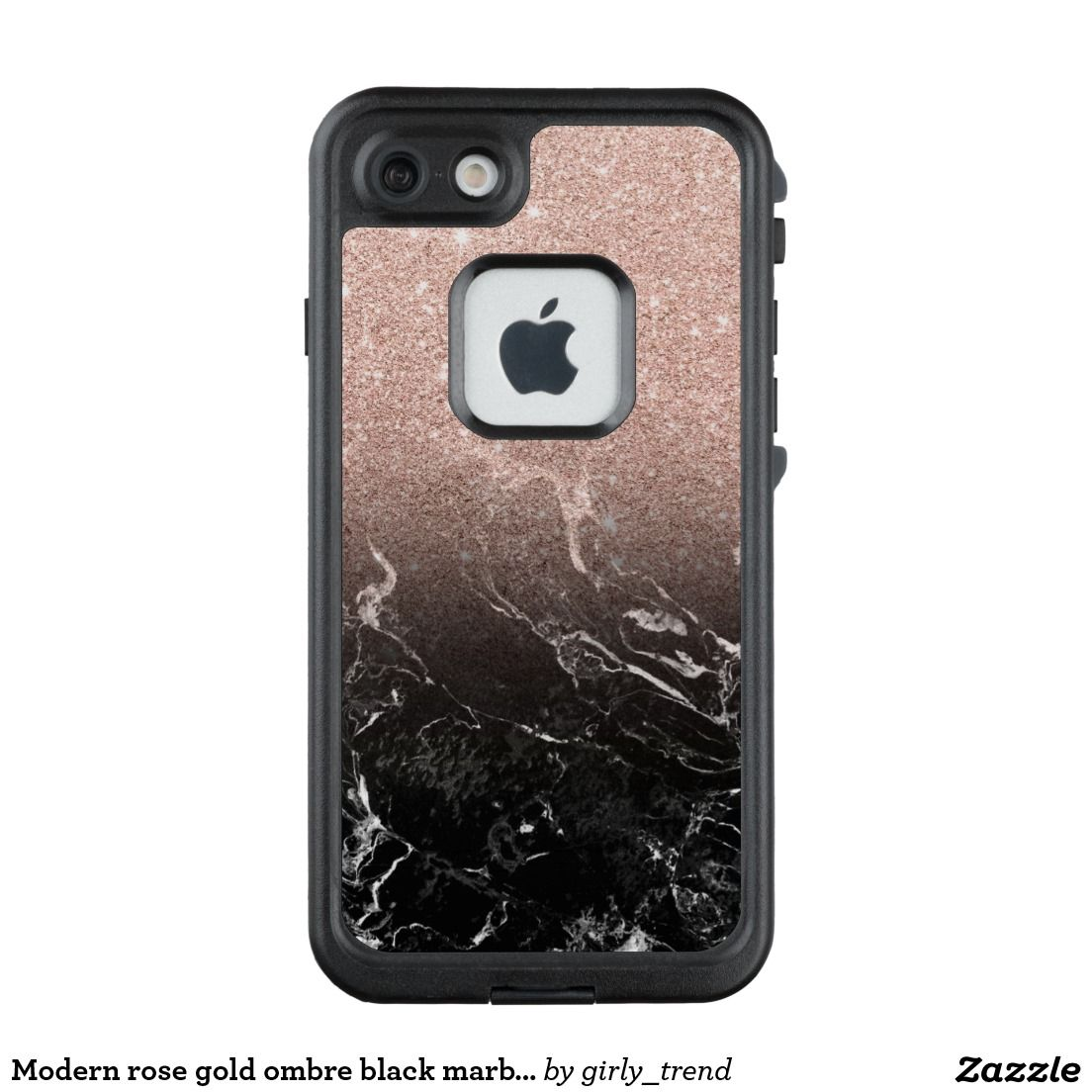 Modern rose gold ombre black marble color block LifeProof® FRĒ® iPhone 7  case 08ce47acac