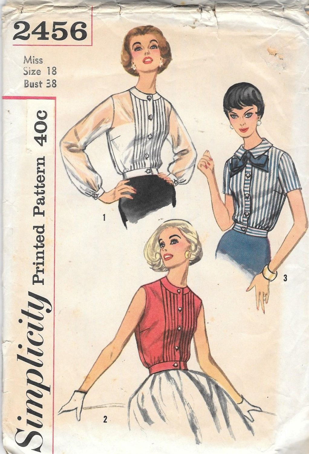 Vintage 1950s Misses Overblouse Blouse Sewing Pattern Simplicity ...