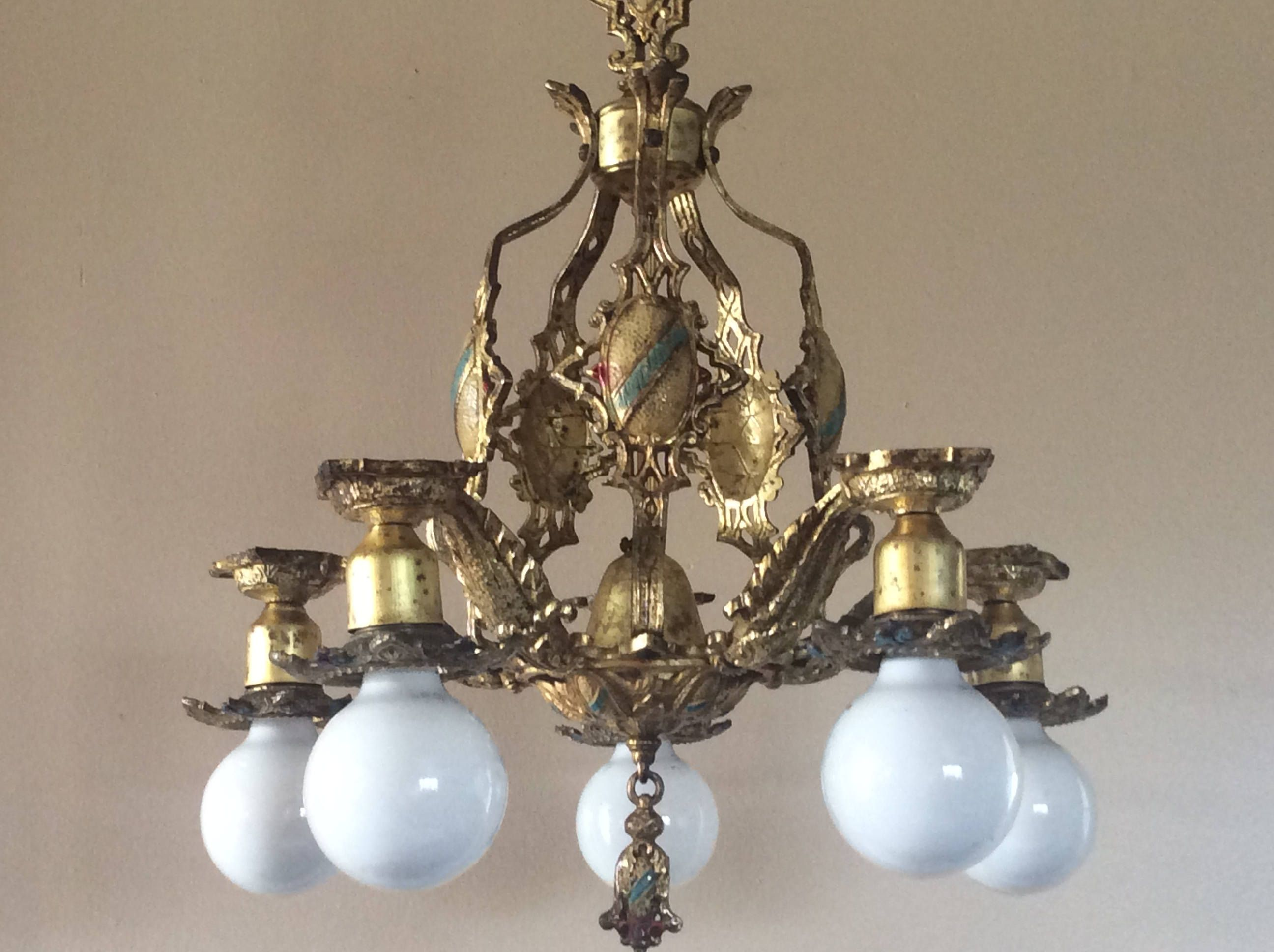 Antique art deco chandelier early 1900s cast brass polychrome 5 antique art deco chandelier early 1900s cast brass polychrome 5 light tudor original arubaitofo Image collections