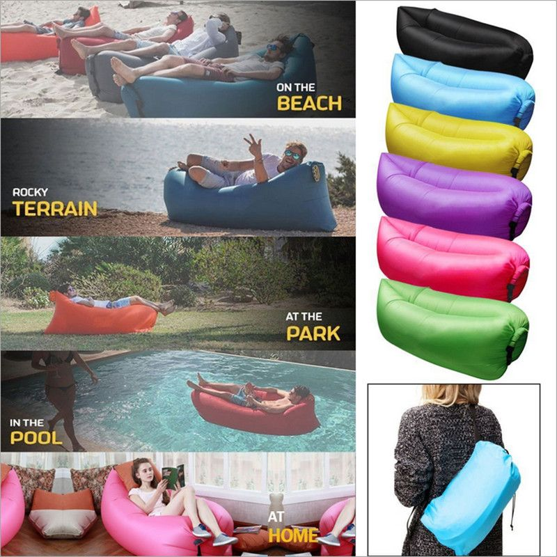 Slipcovers For Sofas Big Size Beach Portable Outdoor Inflatable Bone Furniture Sofa Hammock Sleeping Camping Air Bed Nylon Lazy