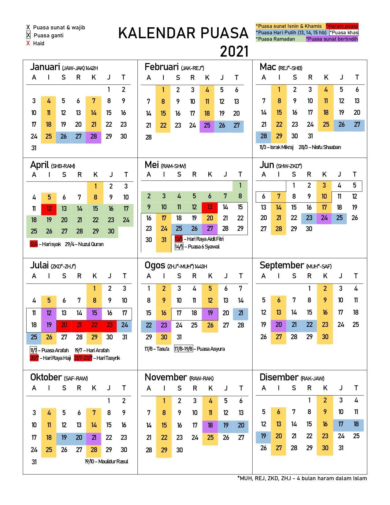 Kalendar Puasa 2021 Islamic Phrases Learn Islam Islam Facts