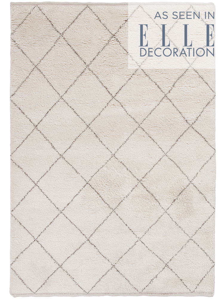 Inspired By Traditional Berber Designs Our Caliana Rug Has Been Hand Tufted From Wool With A Simple Cream And Taupe Diamond Design This Moroccan