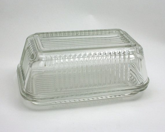 Vintage Rectangular Ribbed Clear Glass Butter Dish Large Etsy Clear Glass Glass Art Deco Fashion