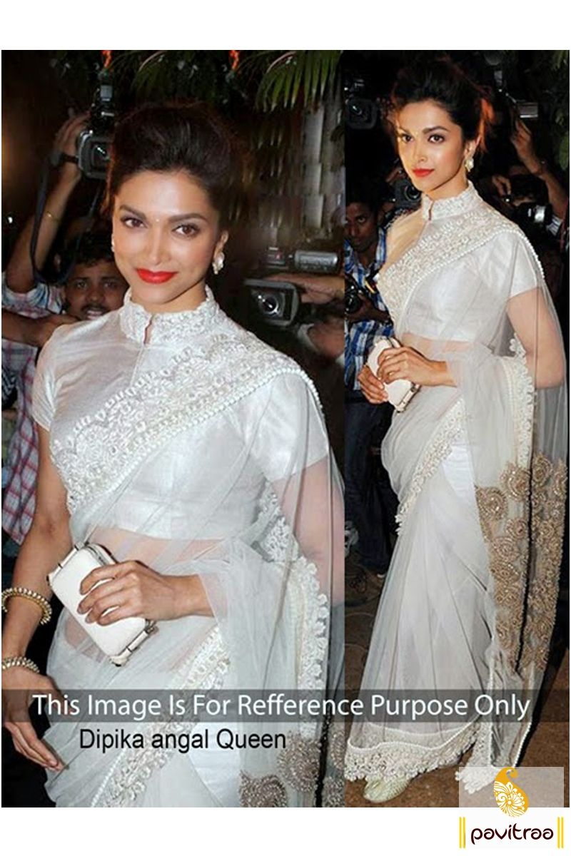 White and Golden Bollywood Party Wear Sarees | Bollywood ...