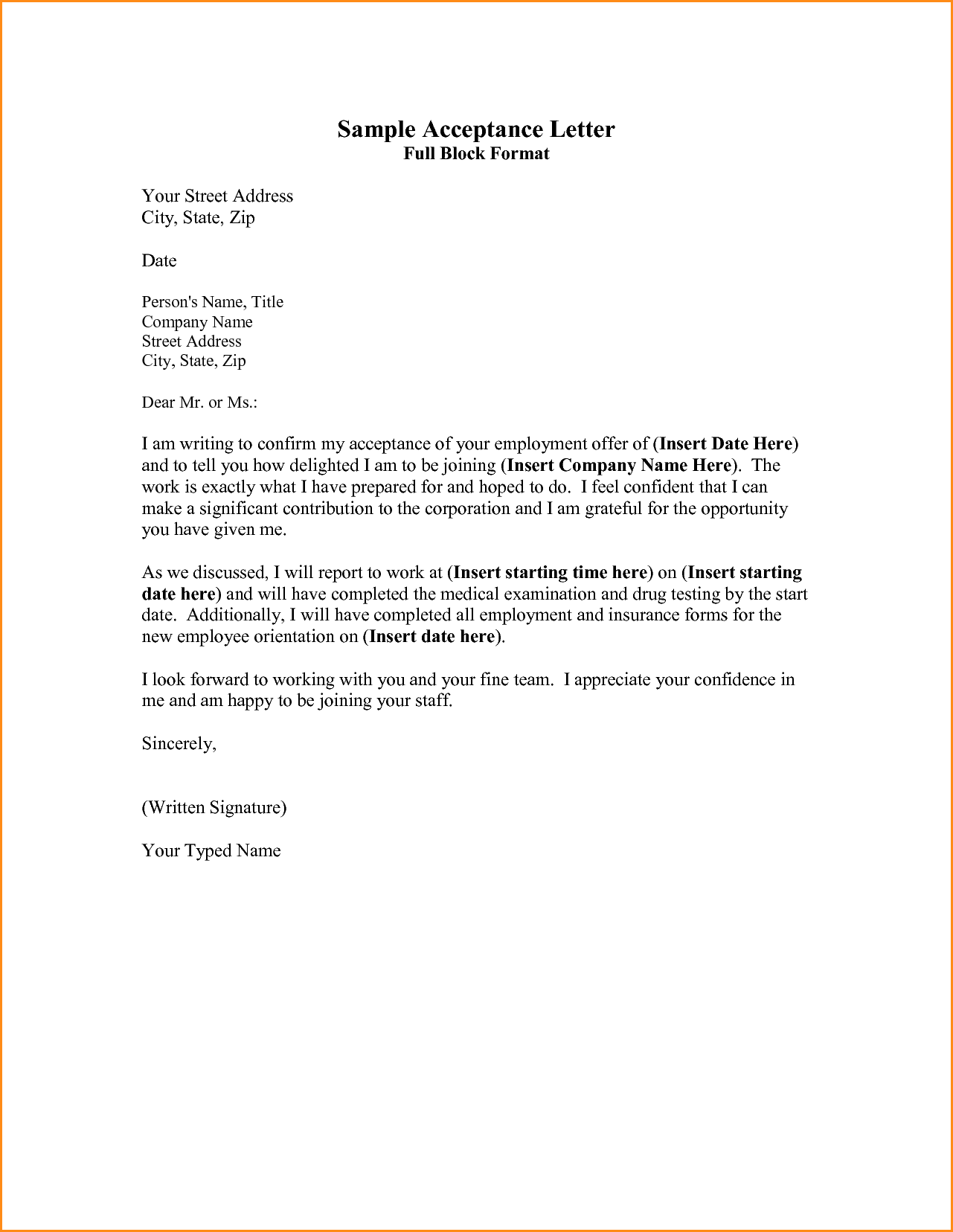 sample acceptance letter full block format your street address ...