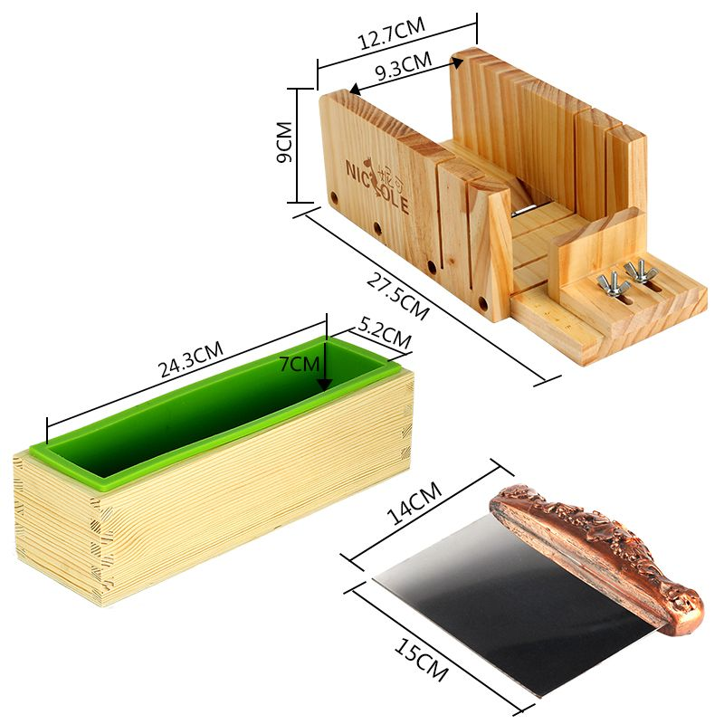 3 teile satz d0019 silikon liner mold mit holz box edelstahl seife loaf cutter holz soap. Black Bedroom Furniture Sets. Home Design Ideas
