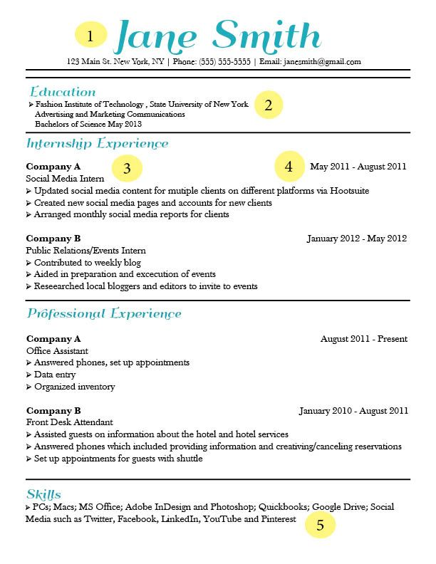 Catchy Resume Templates Free resume template Pinterest - internship resume templates