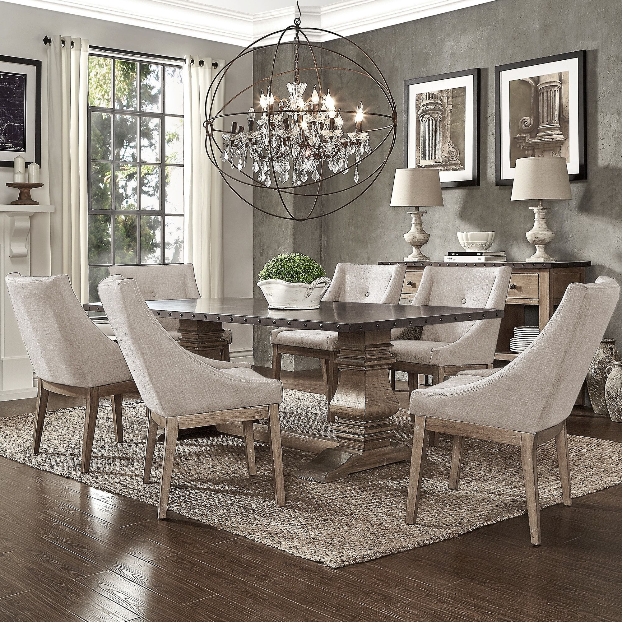 Brussels Traditional Dining Room Set 7 Piece Set: Janelle Extended Rustic Zinc Dining Set