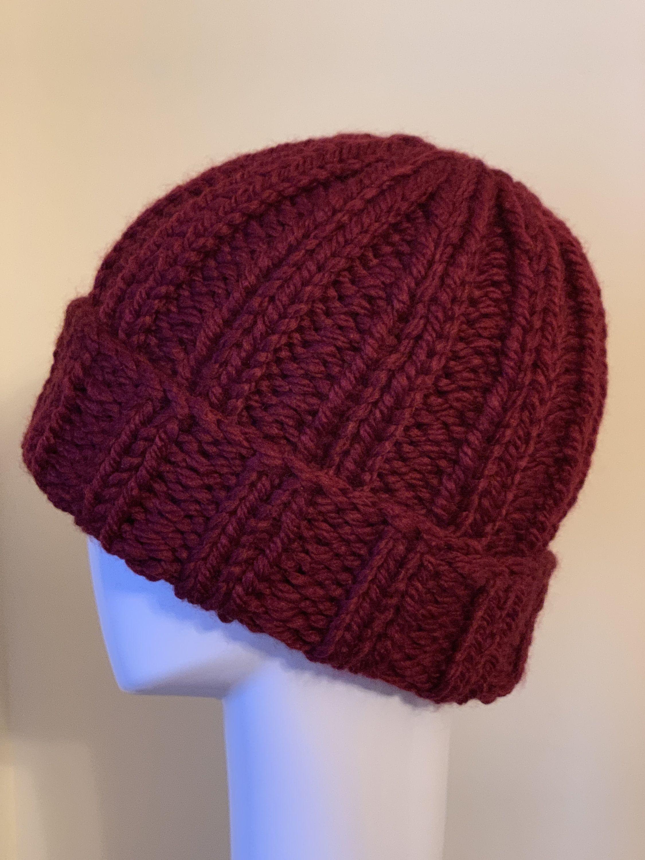 Men Knit Hat Chunky Fishermen Hat Rolled Brim Knit Hat Rib Etsy Knit Hat For Men Knitting Hand Knit Hat