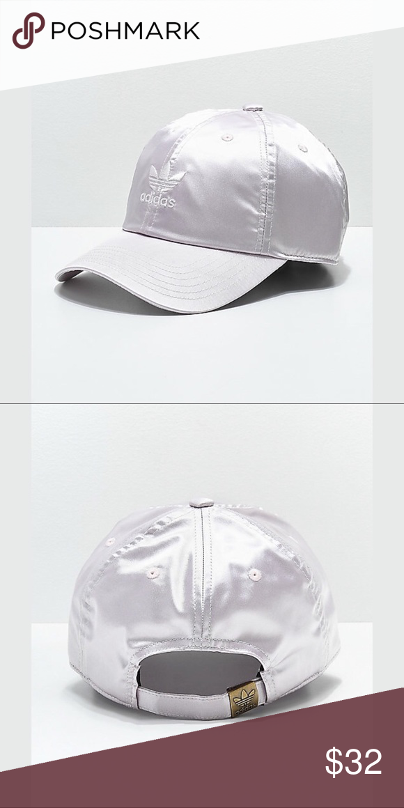 39a2b69523221 adidas original ice purple satin strapback hat Made from a shiny satin  material