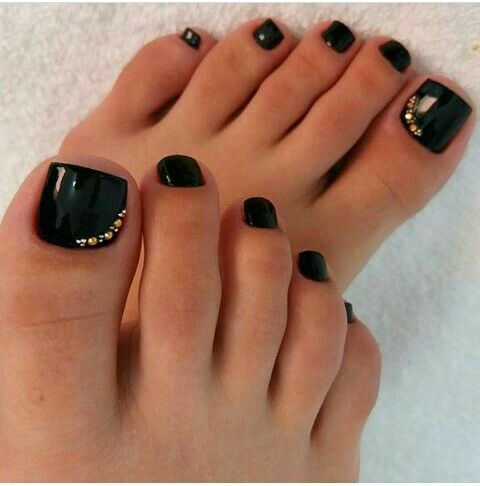 Pin By Consuelo Castellanos On Unas Pies Black Toe Nails Fall Toe Nails Sparkly Black Nails