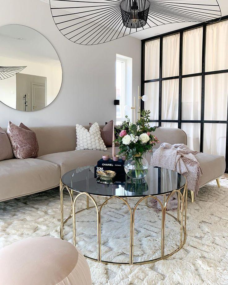 circular gold glass coffee table