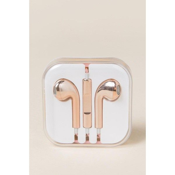 Rose Gold Earphones 10 Liked On Polyvore Featuring Accessories Tech Accessories Ok Originals Rose Gold Earbuds An Iphone Earphones Apple Earphones Gold