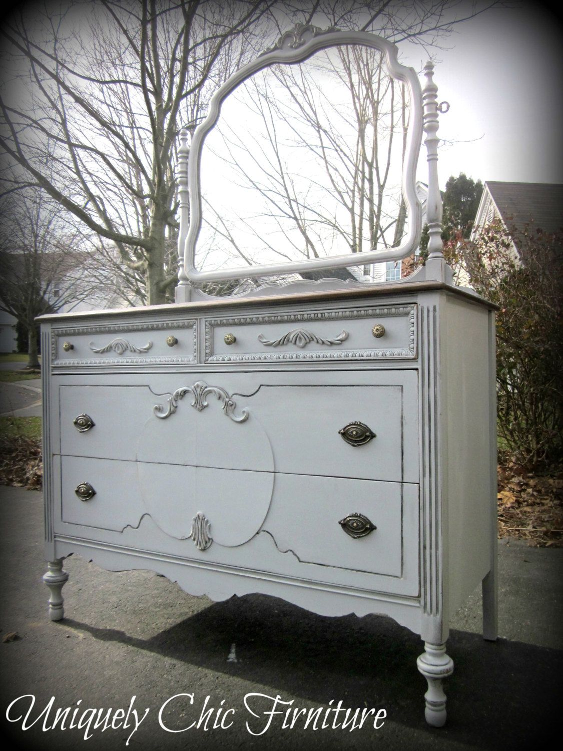 Vintage French Gray Dresser With Mirror Very Similar To The Bedroom Suite I Have Of 2 Twin Beds Dresser With Mirror Grey Dresser Vintage Painted Furniture [ 1500 x 1125 Pixel ]