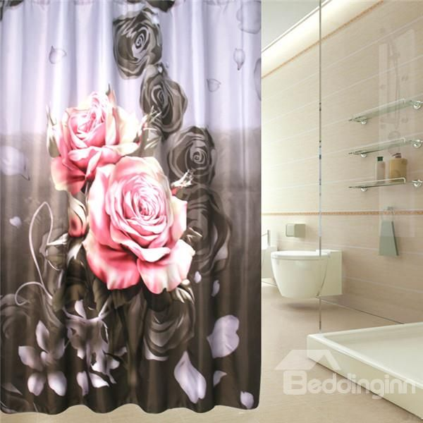 Pink Roses Pattern Polyester Waterproof And Eco Friendly 3D Shower Curtain