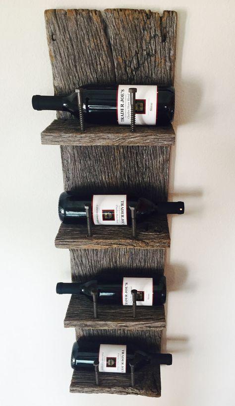 Reclaimed wood industrial wine rack industrial madera y - Muebles para poner botellas de vino ...