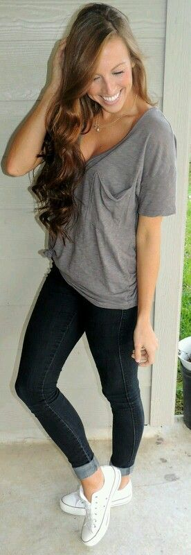 Gray shirt dark blue skinny jeans and converse  f59897985593
