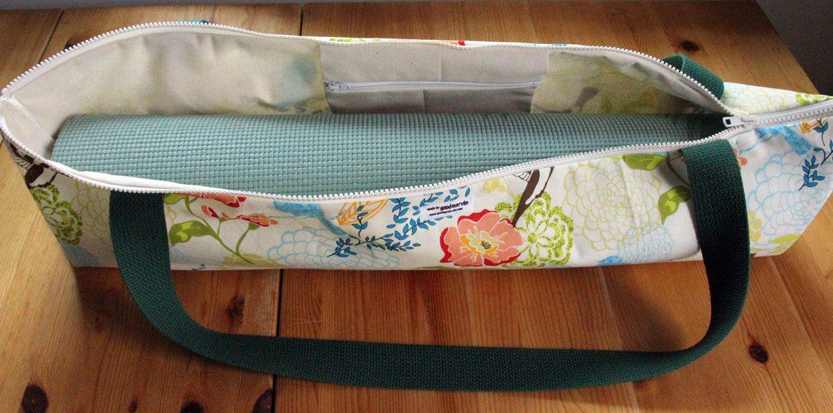 Yoga Mat Bag Zippered Top Loading In Hummingbird Floral