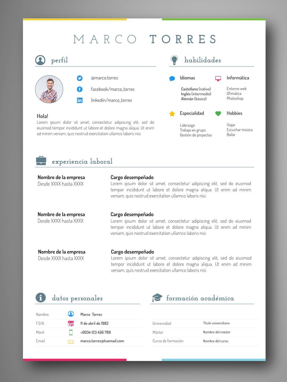 mejores plantillas curriculum editable word español | Modelos de ...