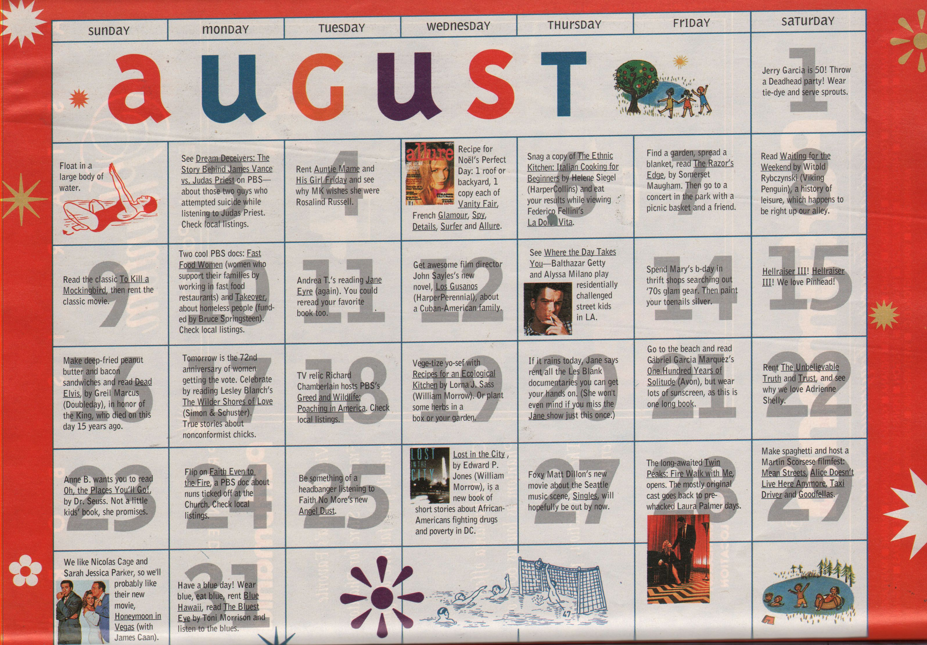 Sassy July 1992 Summer Entertainment Calendar August Summer