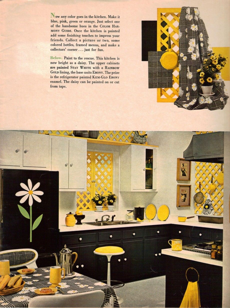 1960s Decorating Style 16 Pages Of Painting Ideas From 1969 Sherwin Williams Yellow Kitchen Decor Kitchen Decor Wall Art Blue Yellow Kitchens