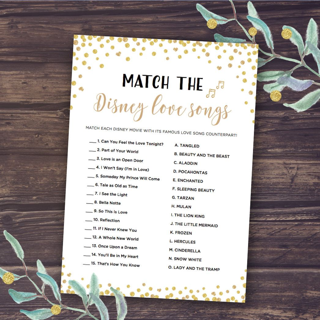 Disney Bridal Shower Games Match The Love Songs Game Instant Download Wedding Romantic Quotes Bachelorette Party Gold