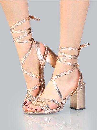 b659403508b Metallic Wrap Block Heels ROSE GOLD