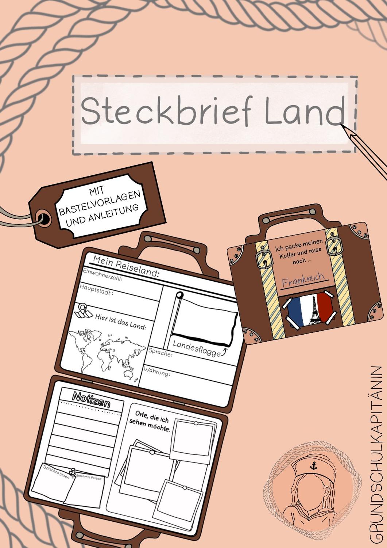 Steckbrief Land Weltweit, Koffer, Ich packe meinen Koffer und reise nach ... – Unterrichtsmaterial im Fach Sachunterricht
