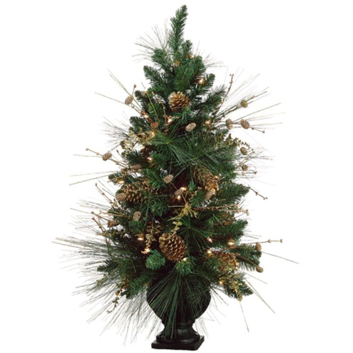Allstate 40 Pre-Decorated Gold Pine Cone Artificial Christmas Tree ...