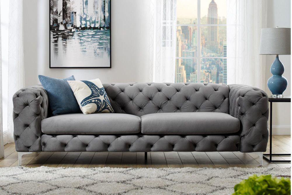 Elegantes Chesterfield 3er Sofa Modern Barock 240cm Grau Samt Riess Ambiente De Moderner Barock Moderne Couch 3er Sofa